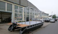 pontoon catamaran with house frame