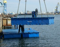 lift the pontoons into the water