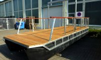pontoon raft with wooden deck