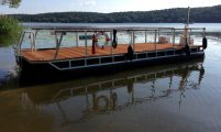 catamaran with wooden deck