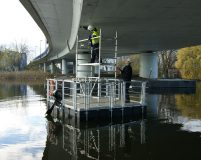 small work pontoon with scaffold