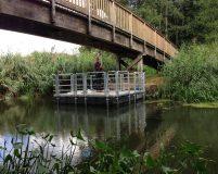 floating work pontoon for bridge checking