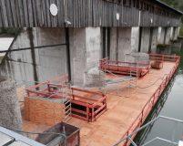 floating work platform for weir repair