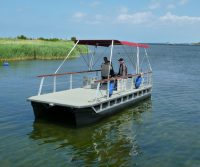 pontoon leisure boat with sun canopy
