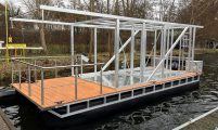 house boat pontoon ready for finishing