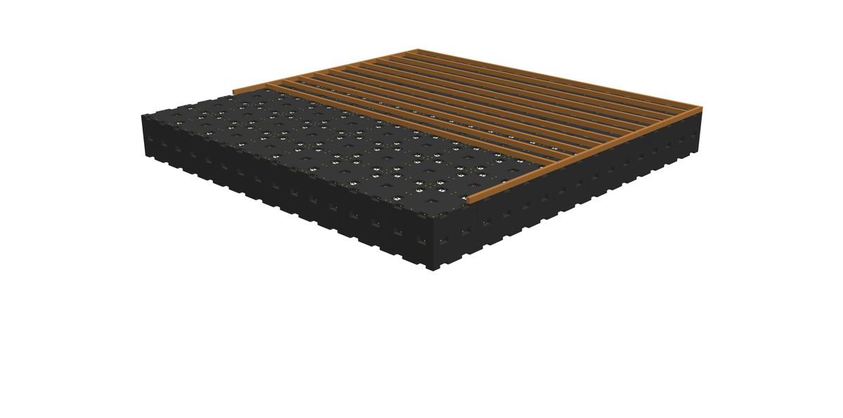 Aufschrauben der Gehbelag-Unterkonstruktion (z.B. Holz- oder Kunststoffträger)