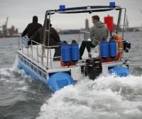 Spezialpontonboot der Polizei