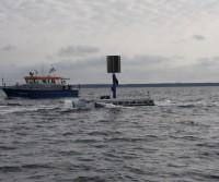 Seezielscheibe mit eingefahrenem Mast