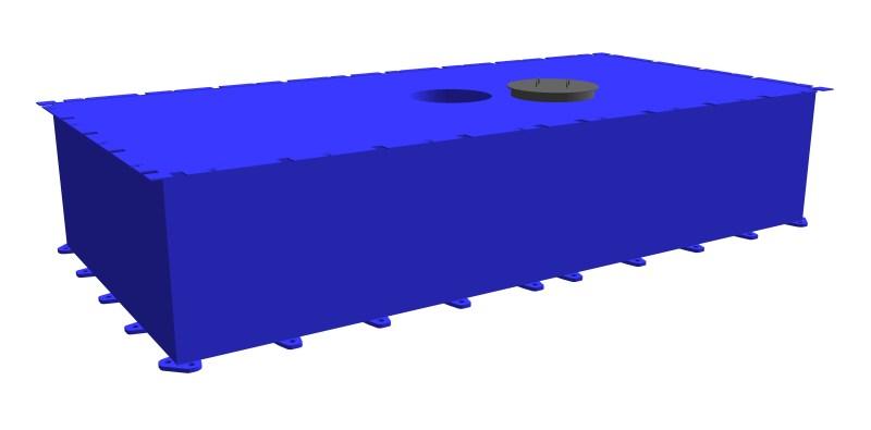 Stahlkoppelponton-PSK-20 Mittelteil mit Durchgangsloch
