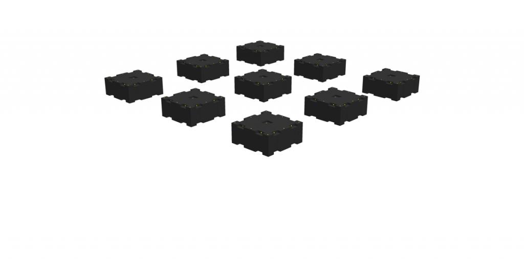 Einzelpontons PT05 werden mit beliebigem Abstand untereinander verlegt