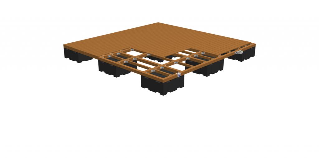 Aufschrauben des Decksbelags (z.B. Holz- oder Kunststoffdielung)