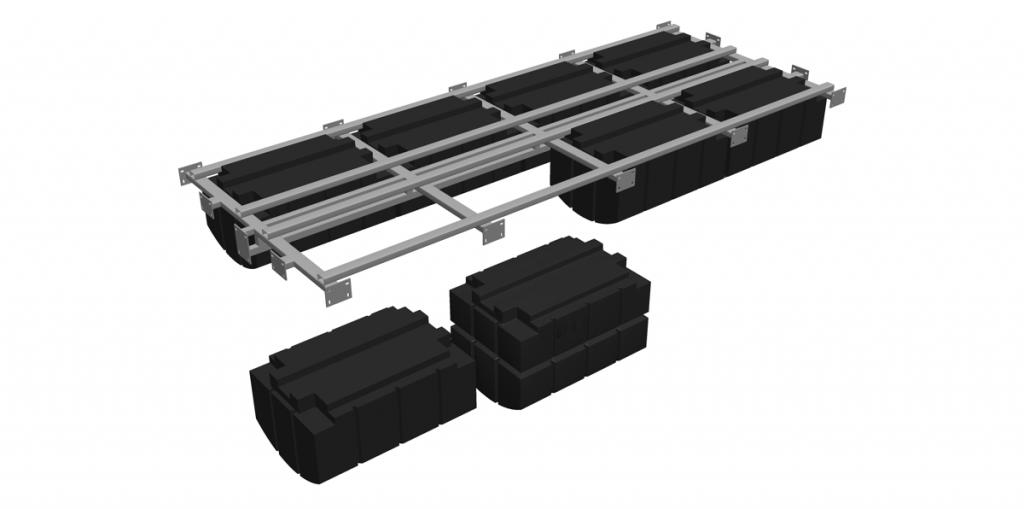 Anbau der Schwimmer PT03 oder PT04 an einem Traggestell aus verzinktem Stahl