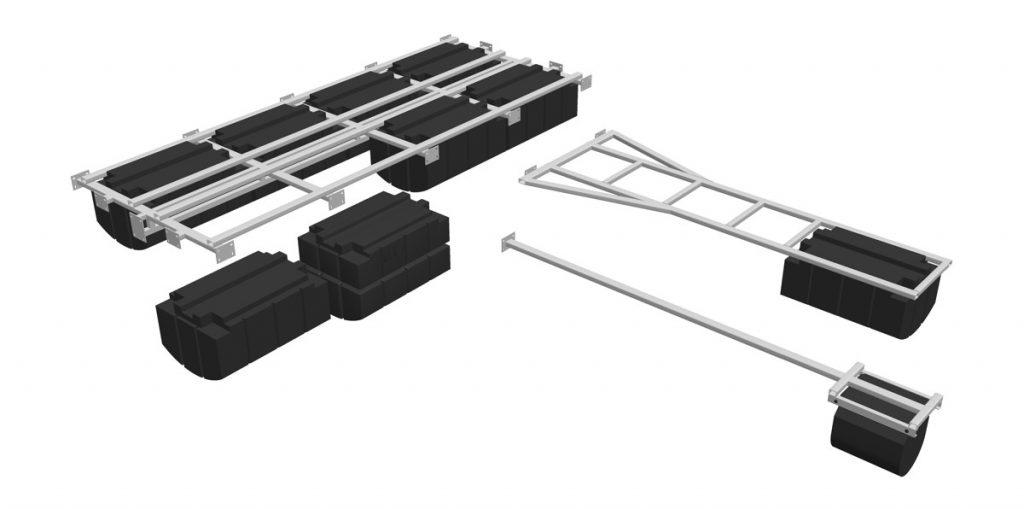 Darstellung der Einzelbauteile des Modulsystems Perebo-Large