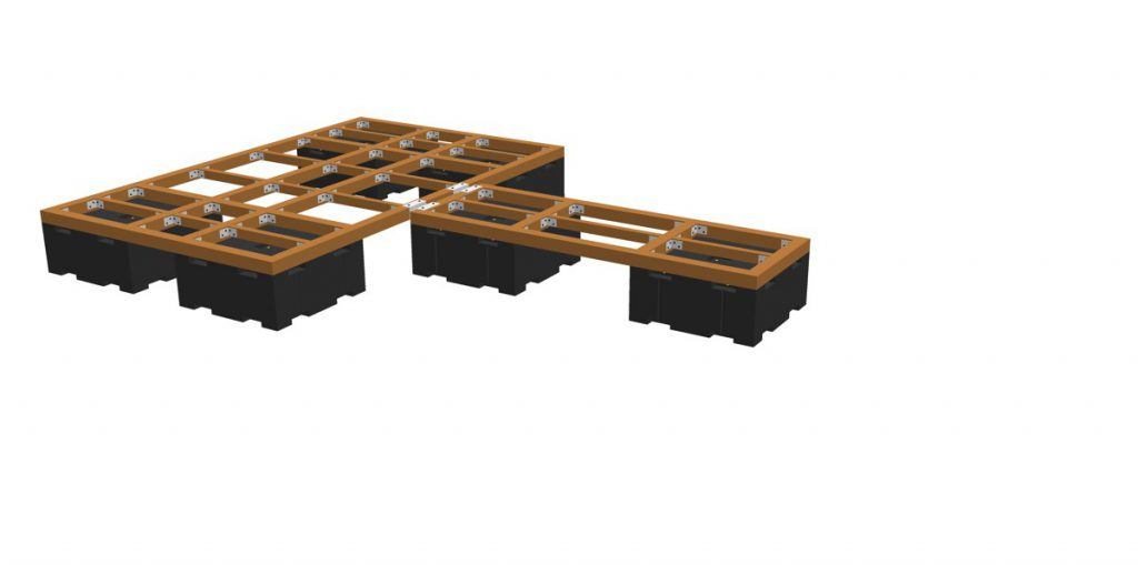 Anschrauben des Traggerüstes (z.B. Holz- oder Kunststoffträger)