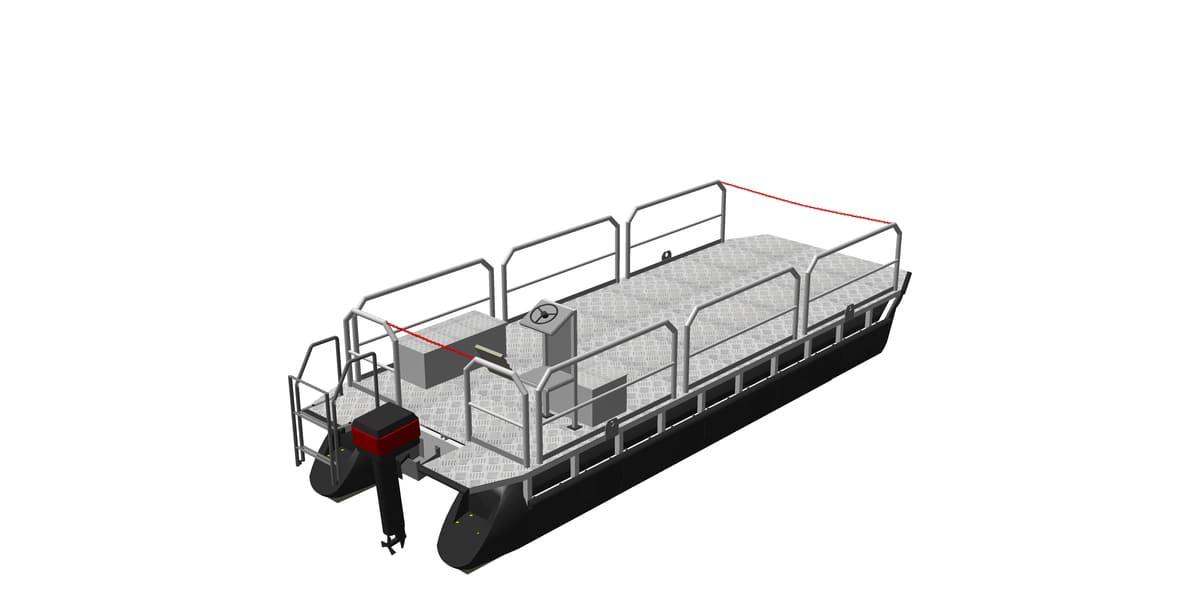 Arbeitsboot mit angebauten Zubehörteilen (z.B. Geländer, Motor, Steuerstand, Badeleiter)