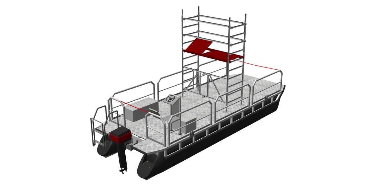 Arbeitsboot mit aufgebautem Standgerüst