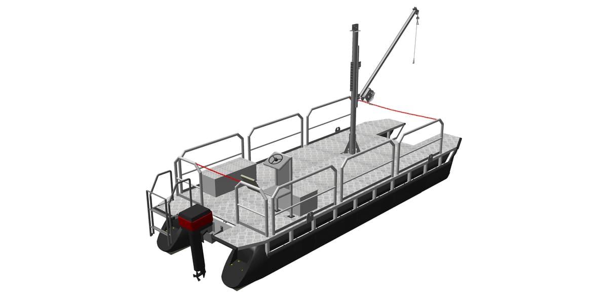 Arbeitsboot mit aufgesetzter Handwinde