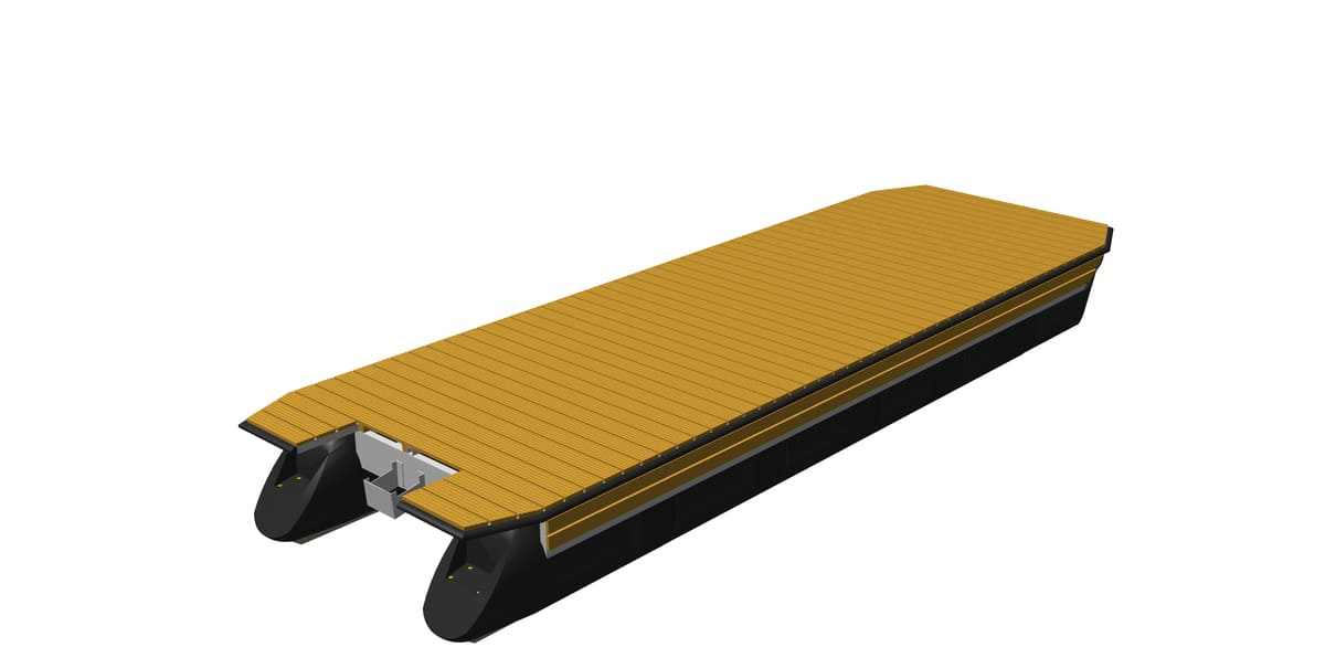 Pontonboot-Plattform mit Holz-Decksbelag
