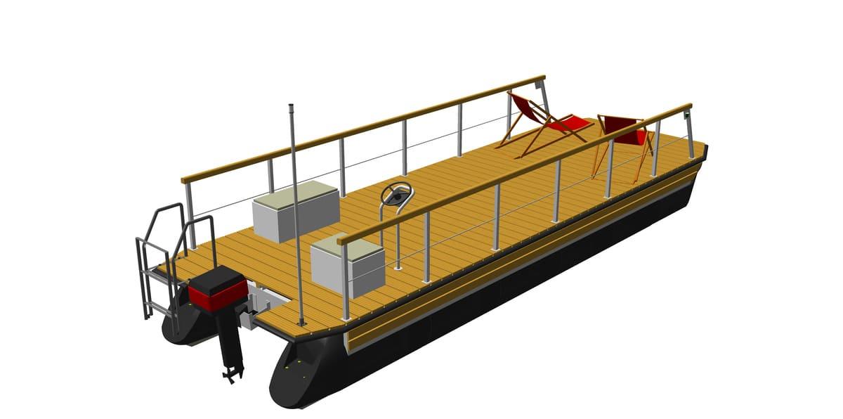 Pontonboot mit angebauten Zubehörteilen (z.B. Geländer, Motor, Steuerstand, Badeleiter)