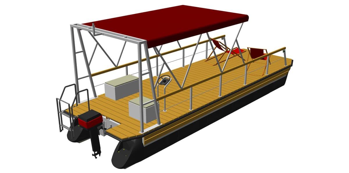 Ponton-Freizeitboot mit Bimini Top