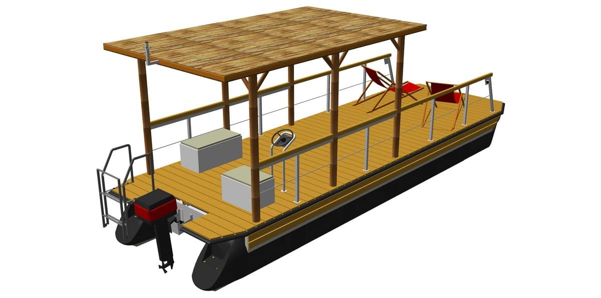 Ponton-Freizeitboot mit Flachdach