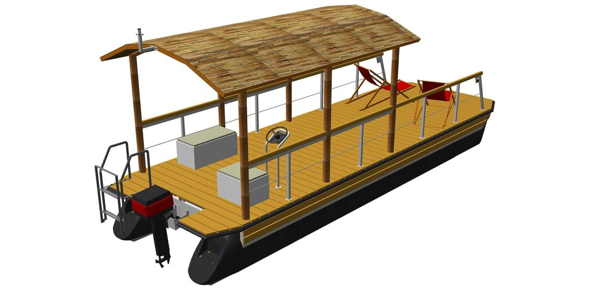 Ponton-Freizeitboot mit Runddach