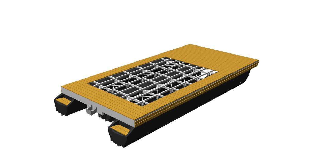 Hausboot-Plattform mit Holz-Decksbelag