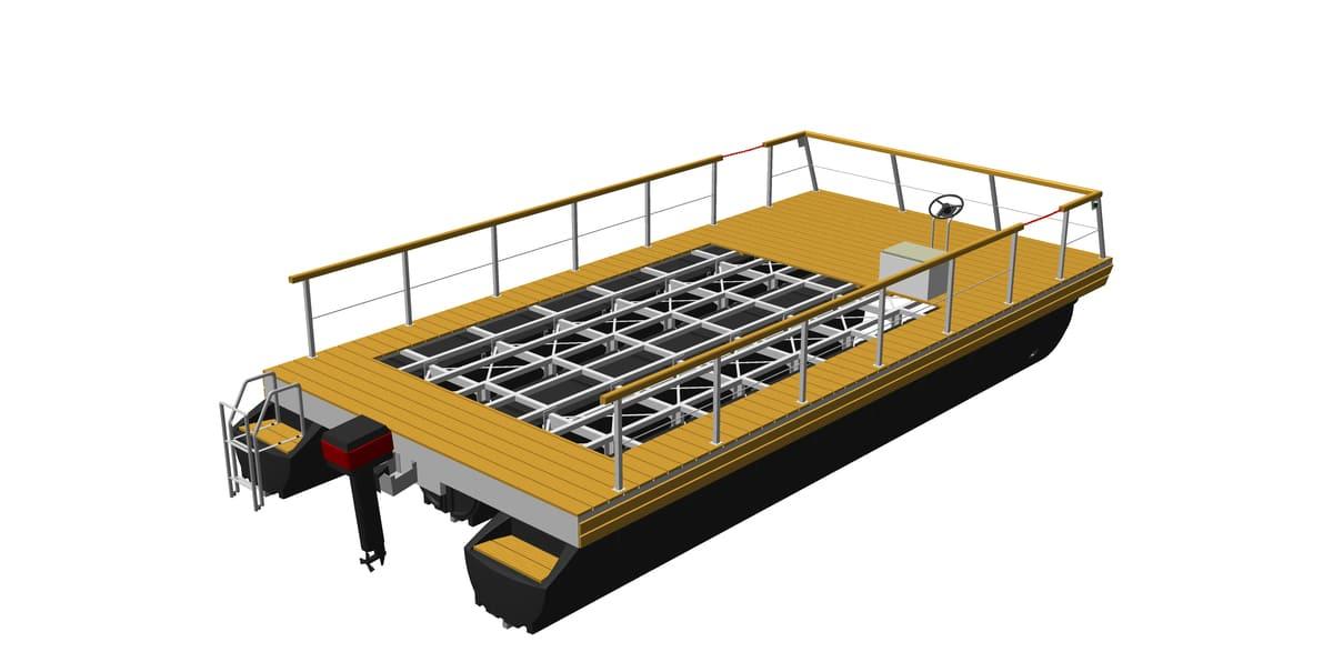 Hausboot-Plattform mit angebauten Zubehörteilen (z.B. Geländer, Motor, Steuerstand, Badeleiter)