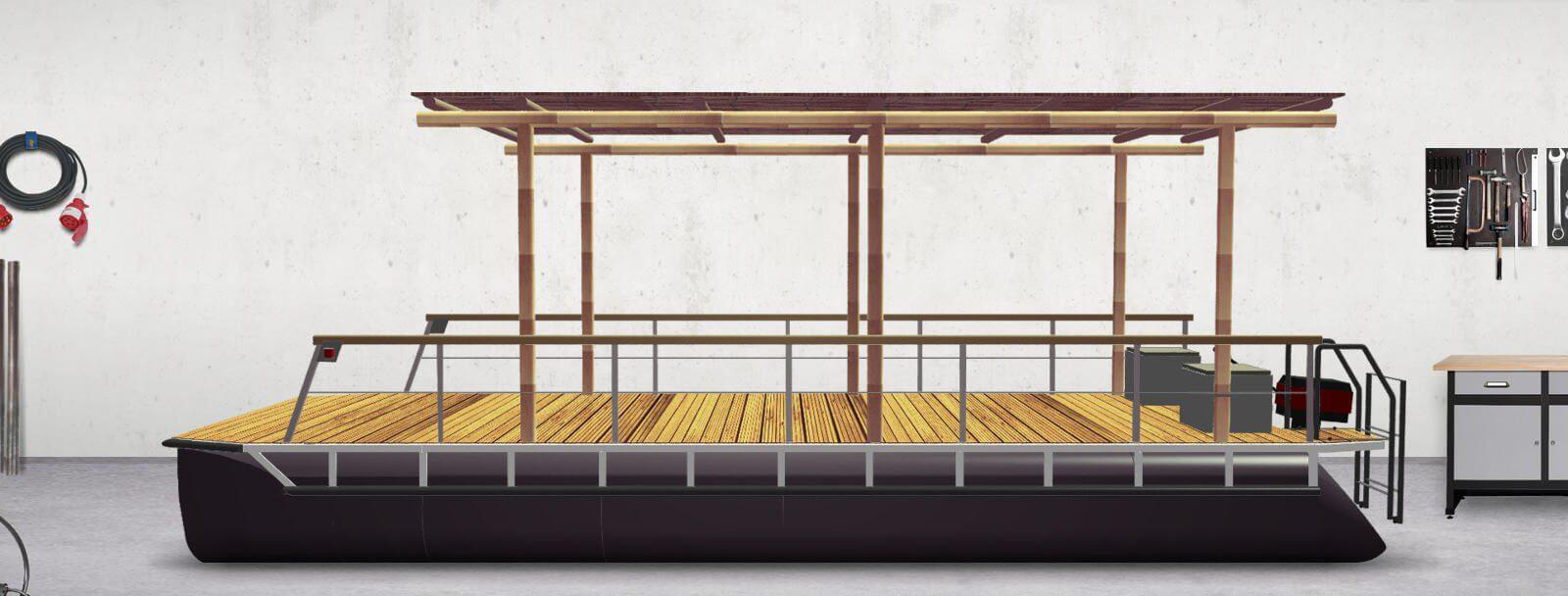 Pontonboot mit Flachdach (komplett montiert)