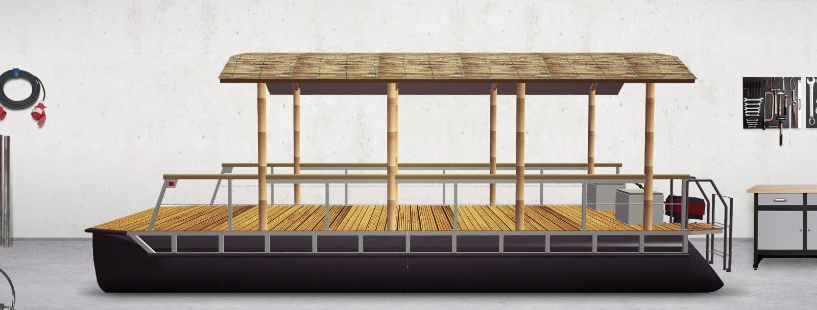 Pontonboot mit Runddach (komplett montiert)