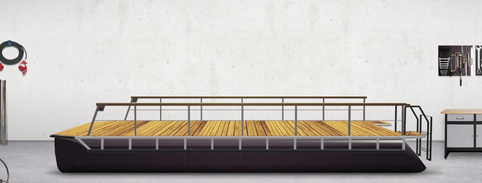 Geländer mit Holzhandlauf, Rammschutz, Positionslichter und Badeleiter