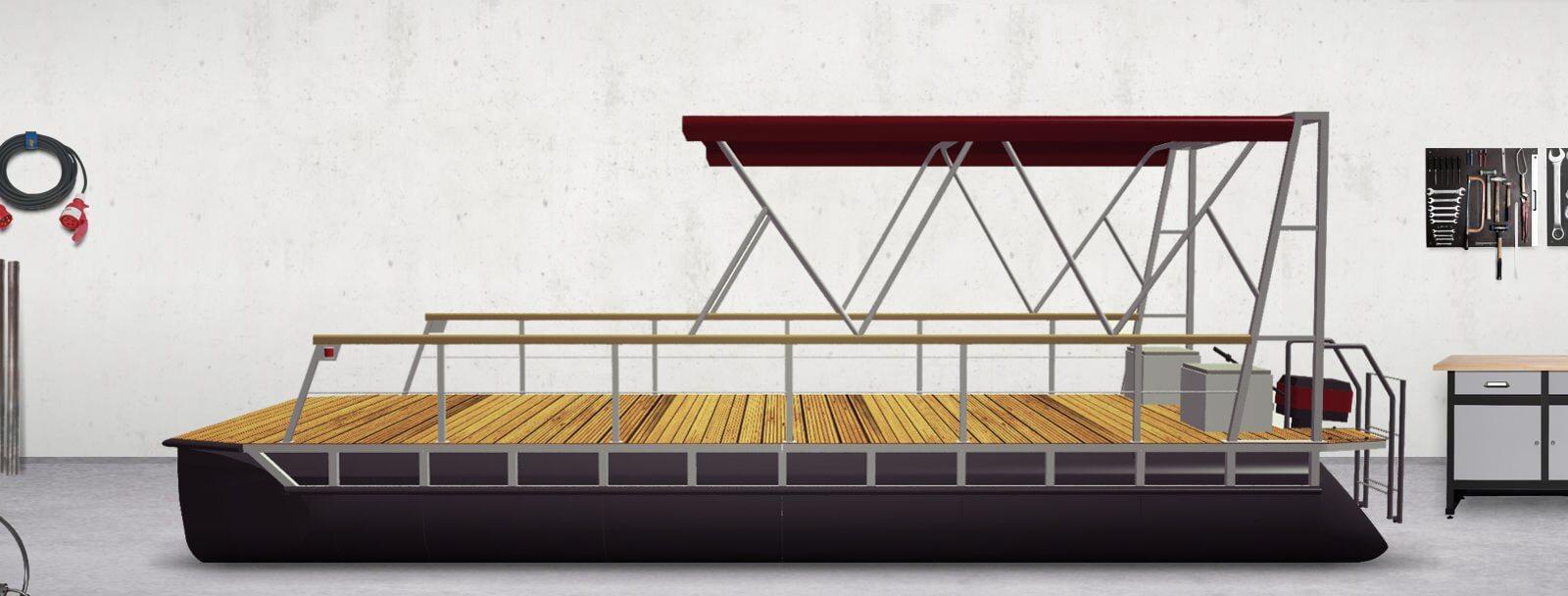 Pontonboot mit Bimini Top