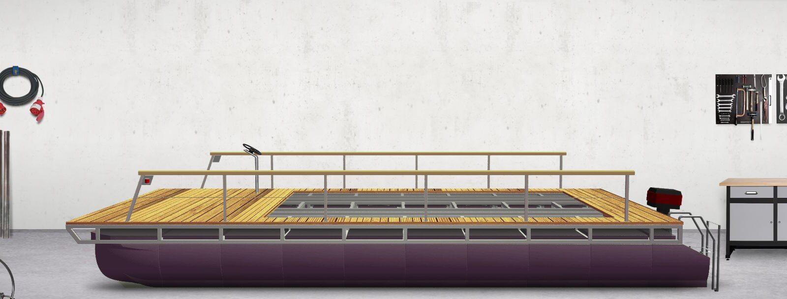 pontoon-trimaran with bathing ladder