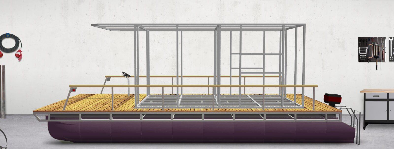 Pontoon platform with house framework