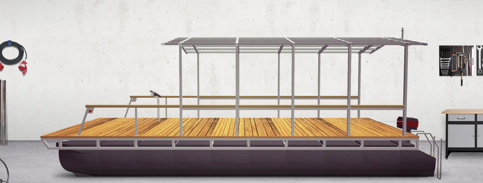 Pontonplattform mit Dachgerüst