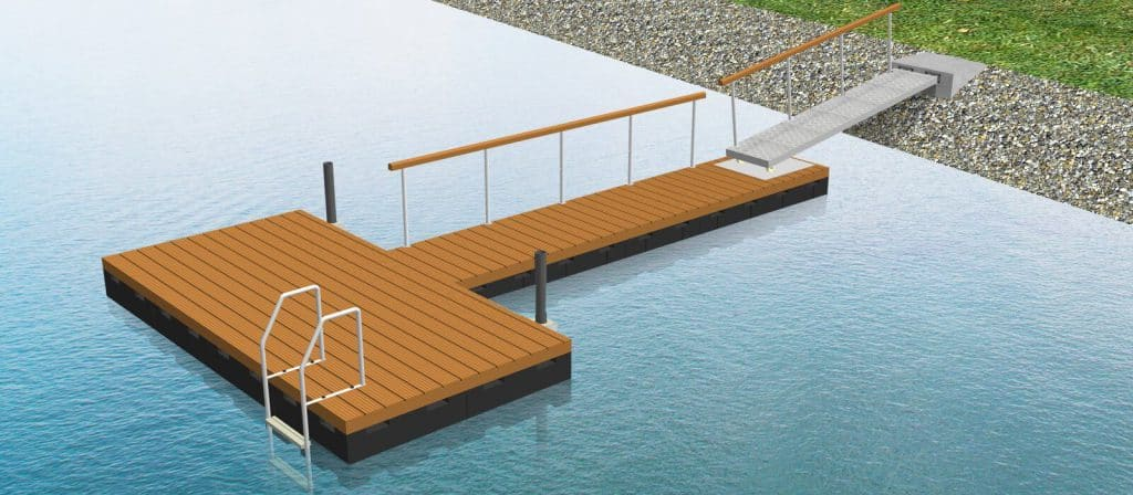 example for a Perebo floating dock with access gangway